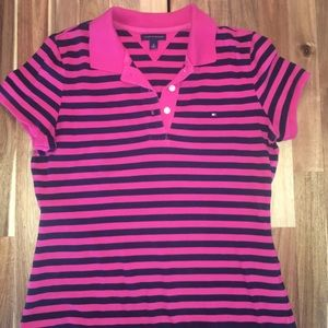 Tommy Hilfiger pink and navy striped T-shirt